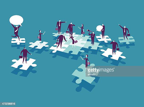 cartoon business people over puzzle pieces
