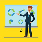 Cartoon businessman giving a presentation with graphs in office, seminar, training. Illustration flat concept