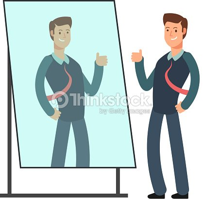 Cartoon businessman loves to look at his reflection in mirror. Egoistic person vector consept : stock vector