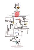 Cartoon Businessman with Maze and Leadership