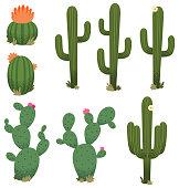 A collection of cartoon cacti.