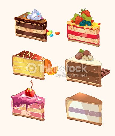 cartoon cake pieces vector illustration vector art thinkstock. Black Bedroom Furniture Sets. Home Design Ideas