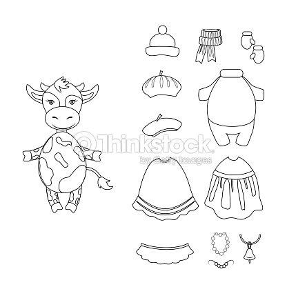 Dibujos Animados Becerro Vector Set Animal Chico Interna Linda Vaca ...