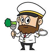 Cartoon Captain Eating Broccoli