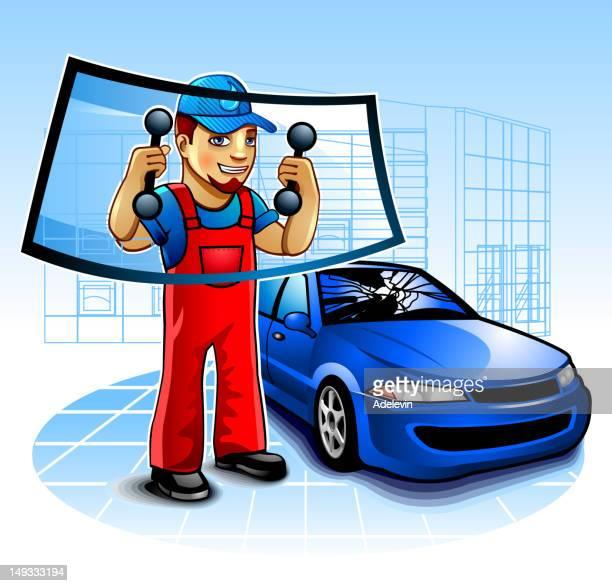 Cartoon car mechanic replacing the windshield of a blue car