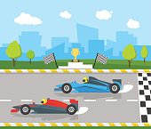 Cartoon Car Racing Sport Professional Competition Flat Style Design Starting or Finishing Auto. Vector illustration