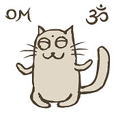 Cartoon cat Tik sits immersed in nirvana. Om sign and symbol. Vector illustration. Cute pet character.