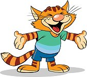 Cartoon illustration of a smilling red stripped cat with open arms.