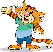Cartoon illustration of a red stripped cat with pointing arm.