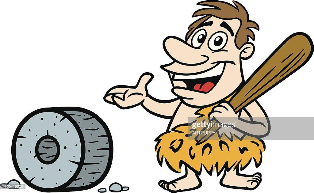 Caveman Wheel : Cartoon caveman with wheel vector art getty images