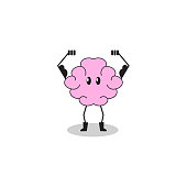 Brain training. Cartoon character brain performing exercise; mental health; strong intellect; smart mind. Vector illustration