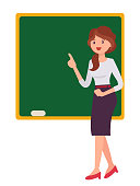 Cartoon character design female school standing in front of blackboard teaching lesson