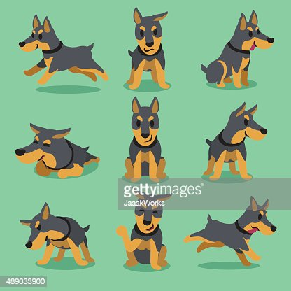 Cartoon Character Doberman Dog Poses Vector Art Thinkstock