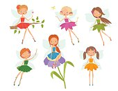 Cartoon character set of cute little fairies. Vector illustration