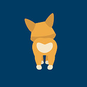Cartoon Character Welsh Corgi Backside View Domestic Pet Concept Element Flat Design Style. Vector illustration