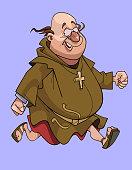 cartoon funny man in a catholic monks cassock very fast runs