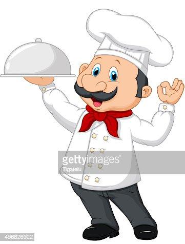 Französische küche comic  Cartoon Chef Mit Einem Silbertablett Vektorgrafik | Thinkstock