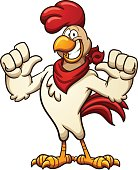 Cartoon chicken with a red bandana. Vector clip art illustration with simple gradients. All in a single layer.