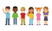 Set of diverse cartoon children. Flat design vector kids, boys and girls.