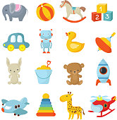 Cartoon children toys vector icons collection. Kids toys icon, teddy and duck, car and ball, airplane and helicopter illustration