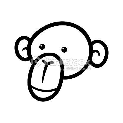 Cartoon Chimp Or Monkey Black Line White Background Vector Art