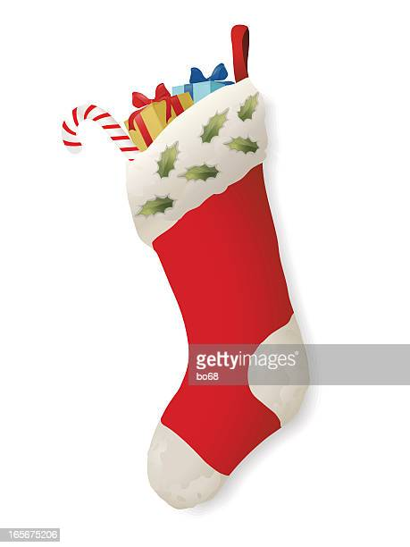 Cartoon Christmas stocking stuffed with presents