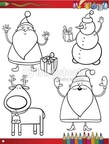 말풍선이 있는 크리스마스 테마 색칠놀이 페이지 벡터 아트