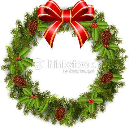 Cartoon Christmas Wreath With Poinsettia Flowers Vector Art Thinkstock