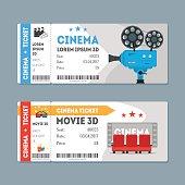 Cartoon Cinema Tickets Big Set Flat Design Style Movie Admit. Vector illustration