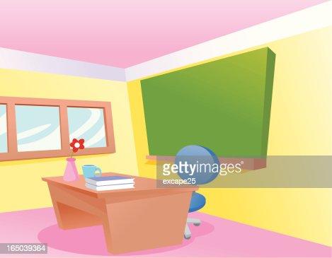 a cartoon classroom with a teachers desk vector art