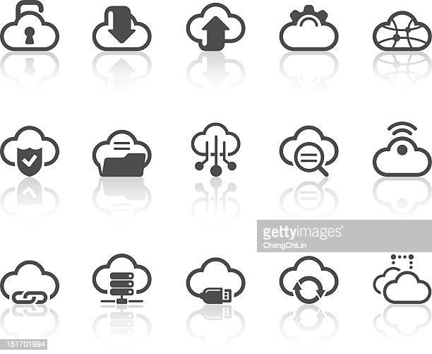 Cartoon cloud icons for computer tasks