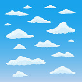 Cartoon cloud set. Cloudy sky background. Blue heaven with white fluffy clouds. Vector illustration.