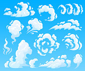 Cartoon clouds and smoke. Dust cloud, fast action icons. Sky, puff steam or air fog. Atmosphere cloudscape explosion weather vector isolated illustration collection