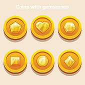 Set of different cartoon coins with gemstones inside, for web game or application interface in vector