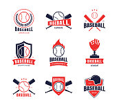 Cartoon Color Baseball Insignias Icon Set Include of Ball and Bats. Vector illustration of Emblem and Badge