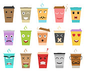 Cartoon Color Cup Coffee or Tea Characters Set Emotion Expression Beverage Concept Element Flat Design Style. Vector illustration