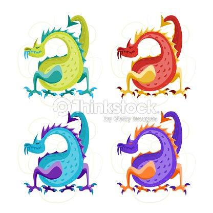 Dibujos Animados Color Fantasy Dragon Animales Juego Vector De Arte ...