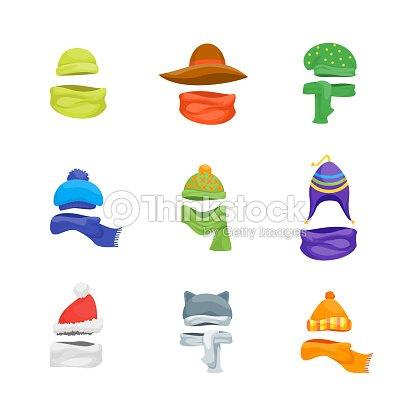 Dibujos Animados Color Invierno Sombreros Y Bufandas Gorros Conjunto ...