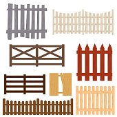 Cartoon Color Wooden Fence Set Different Types Protection Concept Flat Design Style Barrier for Garden, Rural Farm. Vector illustration