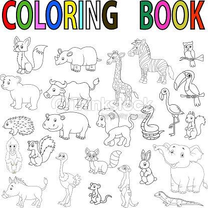 Libro Para Colorear Con Animales Salvajes De Historieta Arte ...