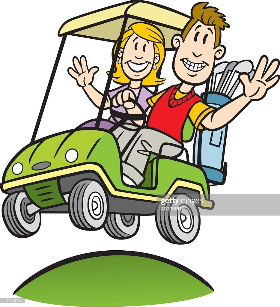 Cartoon Couple In Golf Cart Vector Art