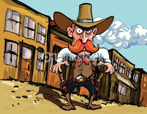 Dessin de cowboy dans la vieille ville de louest clipart - Dessin saloon ...