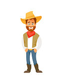 Cartoon cowboy isolated on white background. Vector illustration