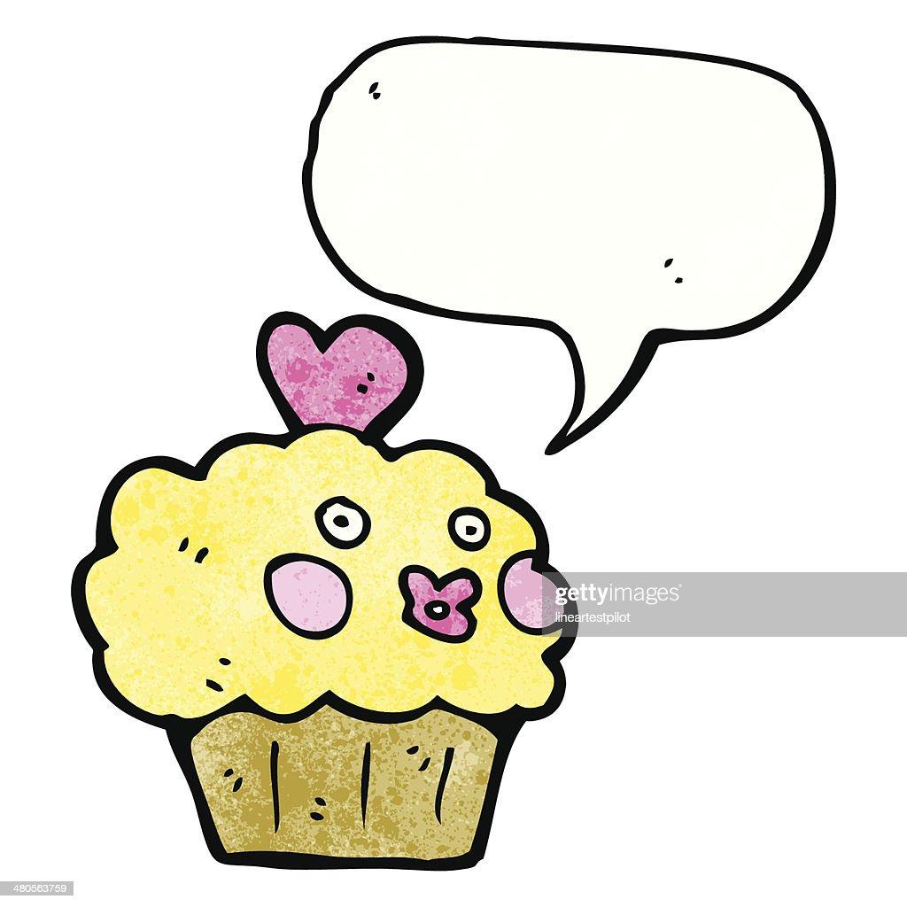 cartoon cupcake with speech bubble : Vector Art