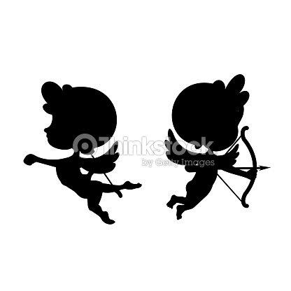 Dessin anim de cupidon fl che silhouette clipart - Dessin de cupidon ...