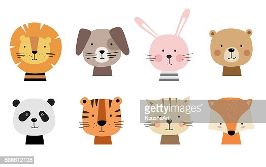 Cartoon cute animals for baby cards. : Arte vetorial
