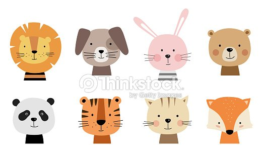 Cartoon cute animals for baby cards. : stock vector