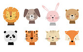 Cartoon cute animals for baby cards. Vector illustration. Lion, dog, bunny, bear, panda, tiger, cat, fox.