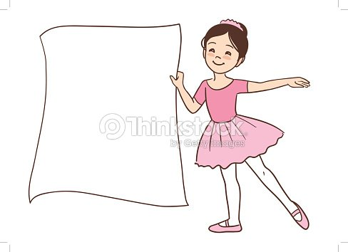 cartoon cute ballerina girl holding a blank sign template vector art