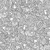 Cartoon cute doodles hand drawn Bathroom seamless pattern. Line art detailed, with lots of objects background. Endless funny vector illustration
